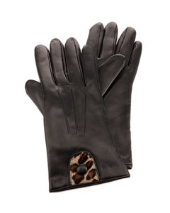 Portolano Portolano BLACK Soft Pony Hair & Leather Gloves ( Sz. 7.5 )