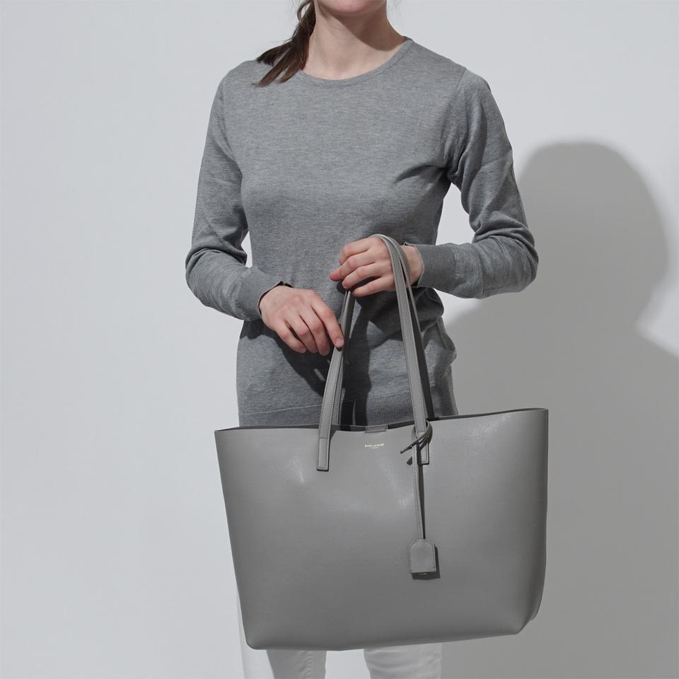 47cc3455a8a Saint Laurent Large East-west Shopper Oyster Grey Leather Tote