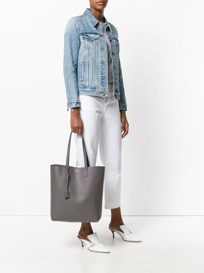 a65a8c5d87 Saint Laurent Shopping Monogram North-south Tote in Oyster Grey Image 6.  1234567