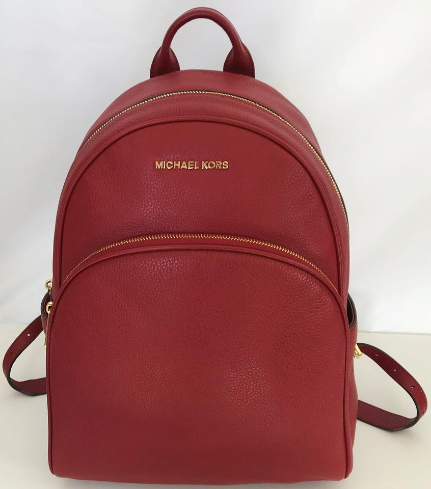 1043d2218691 Michael Kors Abbey Large Frame Cherry Gold Pebbled Leather Backpack ...