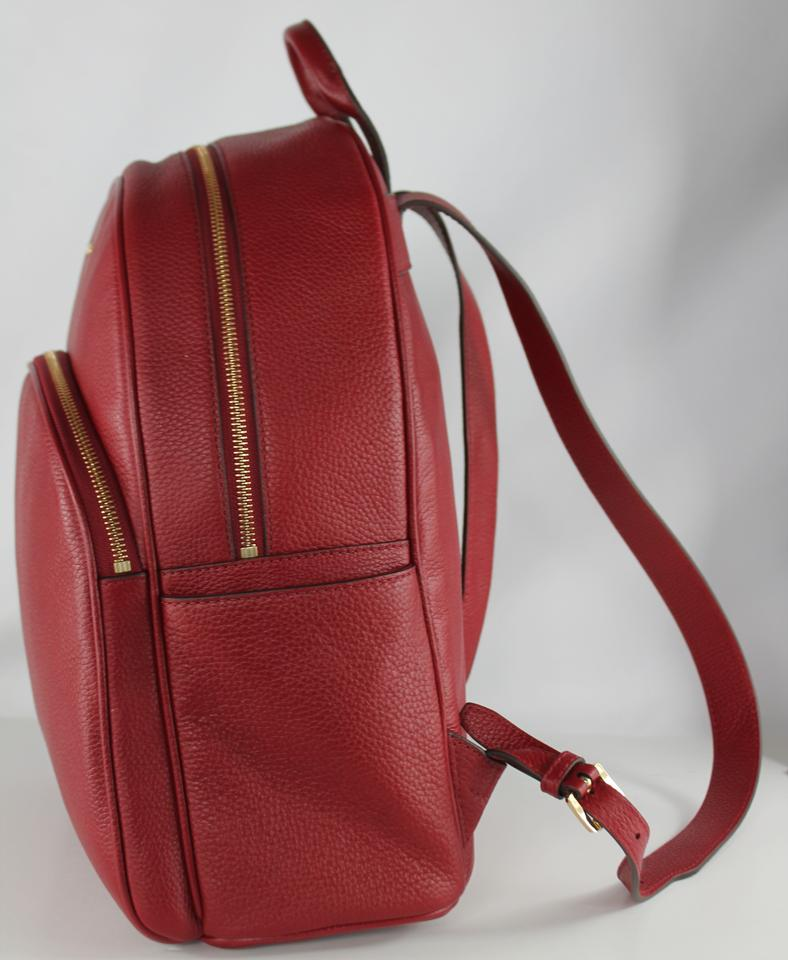 586100cad711 Michael Kors Abbey Large Frame Cherry Gold Pebbled Leather Backpack -  Tradesy