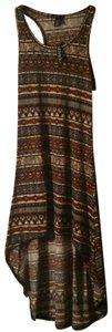 Brown yellow beautiful and different Maxi Dress by Love, Fire