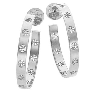 Tory Burch NEW!!! TAGS LOGO SILVER LOGO HOOPS HOOP EARRINGS NWT DUST BAG