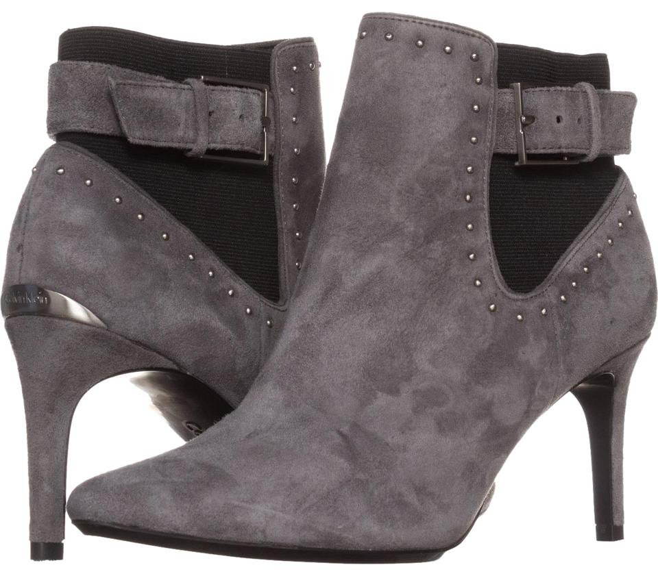 Calvin Klein Shadow Grey Jozie Pointed Toe Ankle 071 Shadow Klein Grey/Black 8 Boots/Booties ad9416