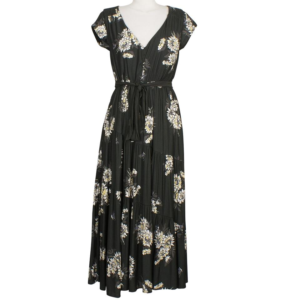 Free People Black All I Got Floral Tiered Long Casual Maxi Dress ...