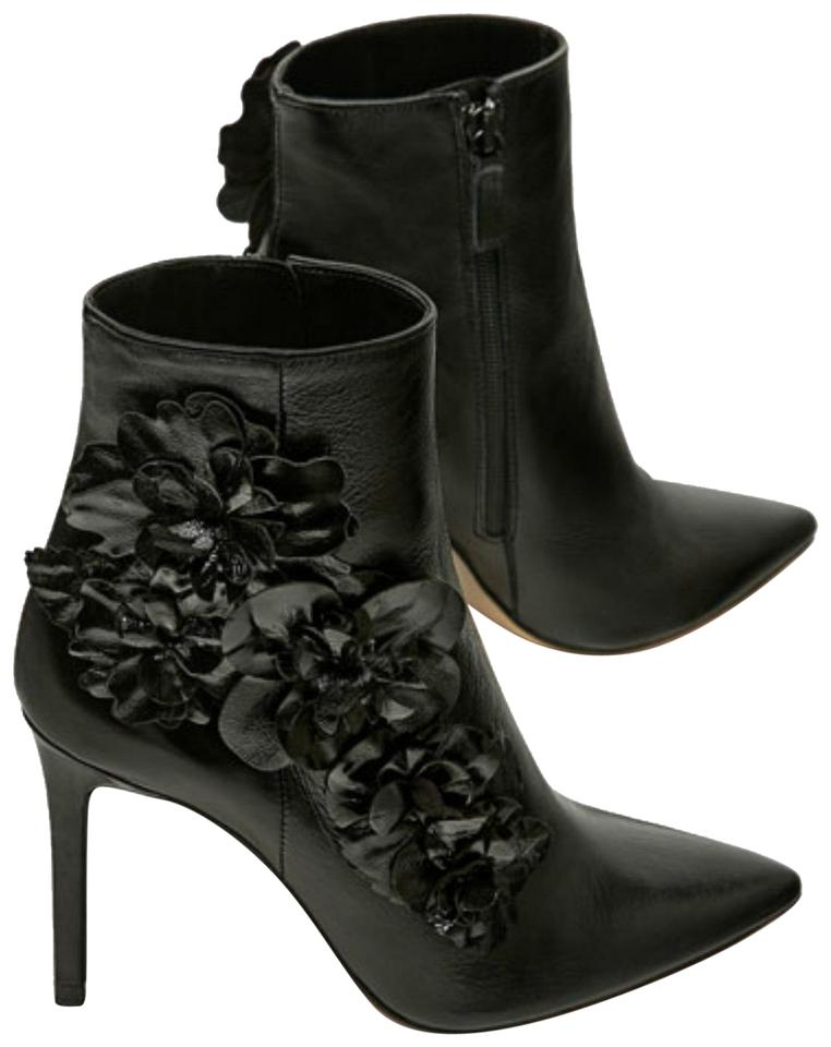 Zara Black Leather Ankle Patent Leather Black Floral Trim Boots/Booties 208f57