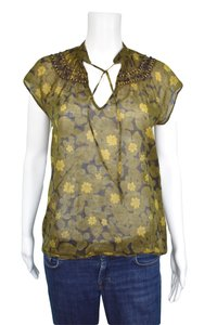 Theory Floral Bohemian Wood Beads Top Green