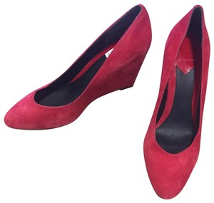 B Brian Atwood Suede Red Wedges