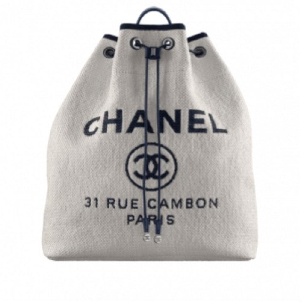 8c038fa33 Chanel Deauville Backpack Spring 2017 White and Blue Canvas Backpack ...