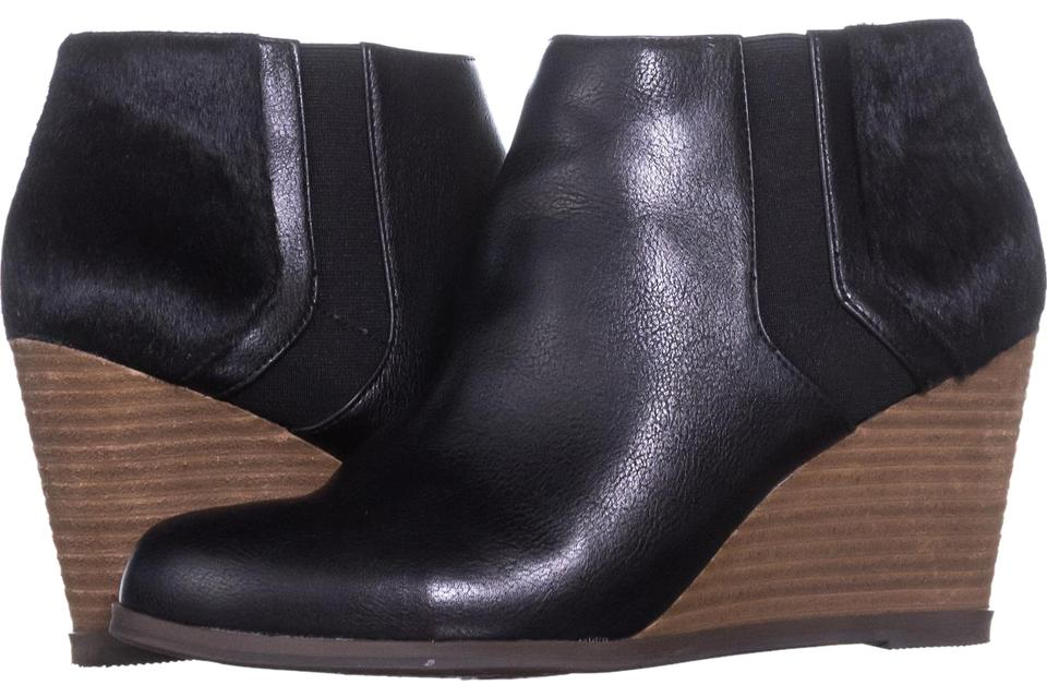 8df3cc27908 Dr. Scholl s Black Patch Wedge Ankle 013 Pony Hair   38 Eu Boots ...