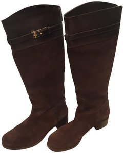 Tory Burch Leather Suede Gold Hardware Metallic Hardware Brown Boots