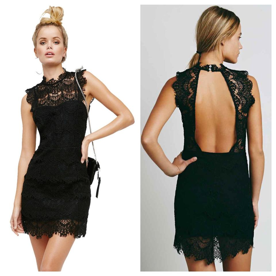 Free people black daydream bodycon short cocktail dress size 6 s free people bodycon lace scalloped open sexy dress ombrellifo Choice Image