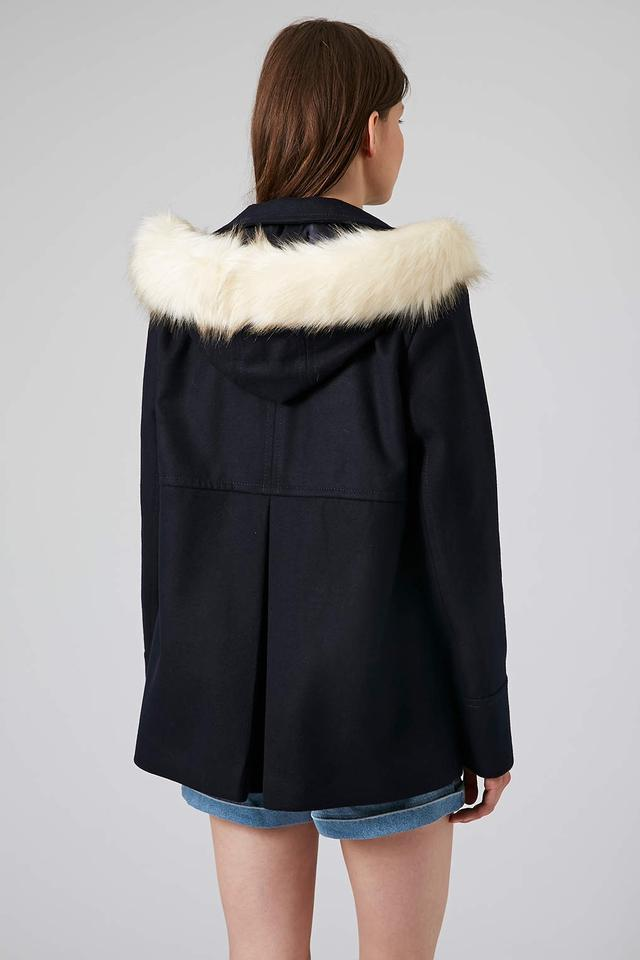 2a3bd208cf202 Topshop Navy Faux Fur Hooded Swing Coat/Jacket Jacket Size 6 (S) - Tradesy