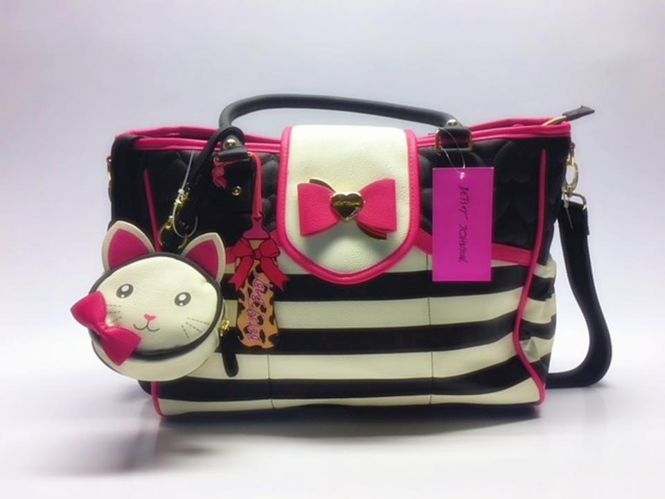 Betsey Johnson Black With Cream Stripes And Fuchsia Accents Diaper Bag 12345