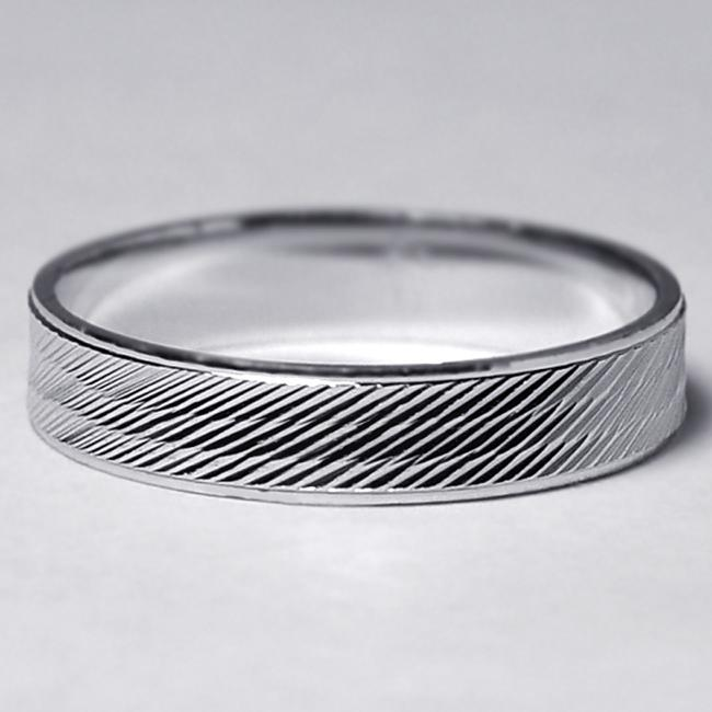Item - Silver Solid 925 Sterling His Simple Ring Striped Cut Pattern Comfort Fit 4mm Men's Wedding Band