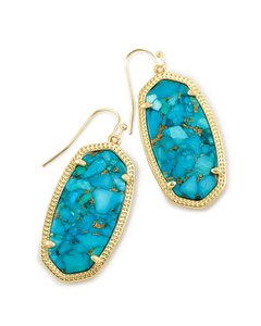 Kendra Scott BRAND NEW Kendra Scott Elle Drop Earrings In Bronze Veined Turquoise