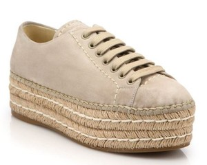Prada Espadrille Suede New With Box Beige Platforms
