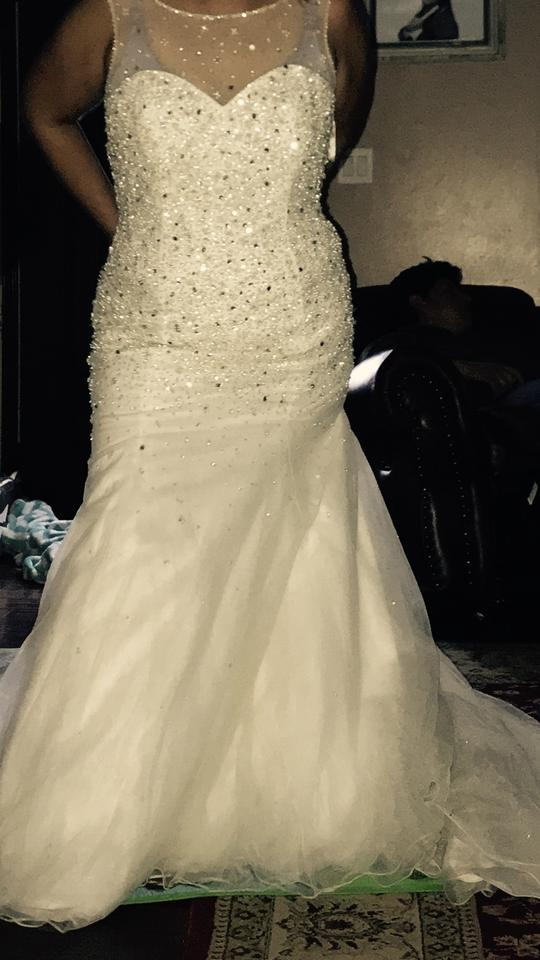 Mori Lee White Pearl Doesn\'t Stretch Beaded Crystal Mermaid Style ...