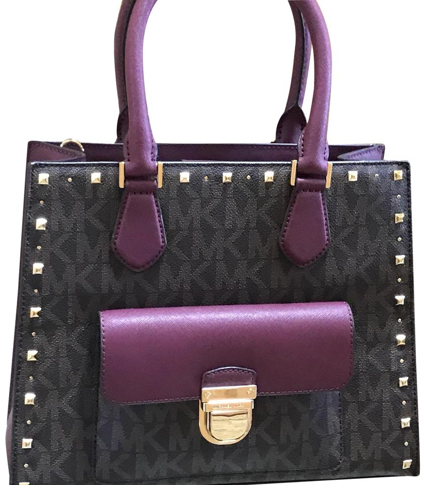a549917ea6c111 Michael Kors East West Tote Bag Mk Signature Bridgette Studded Medium In  Brown/Plum Brown/ Plum Pvc and Saffiano Leather Satchel