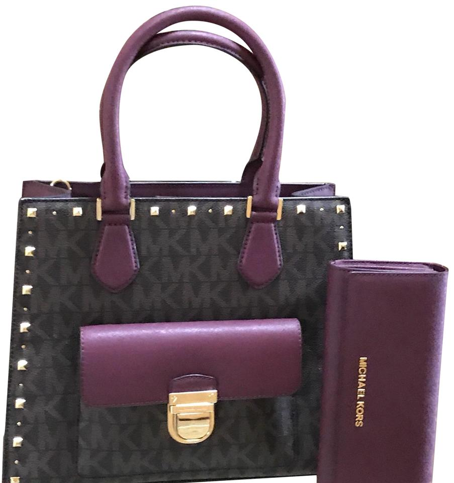 Michael Kors Bridgette Handbag + Wallet Set Brown and Plum Pvc ... 68a6b1a5e8035