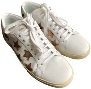 Saint Laurent white with gold stars Athletic