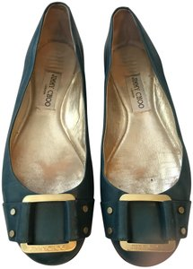 Jimmy Choo Buckle Gold Hardware Teal Flats