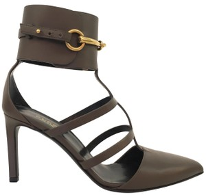 Gucci Horsebit Rockstud Strappy Pointed Toe Gray Pumps