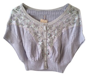 Free People Anthropologie Cropped Lavender Cardigan