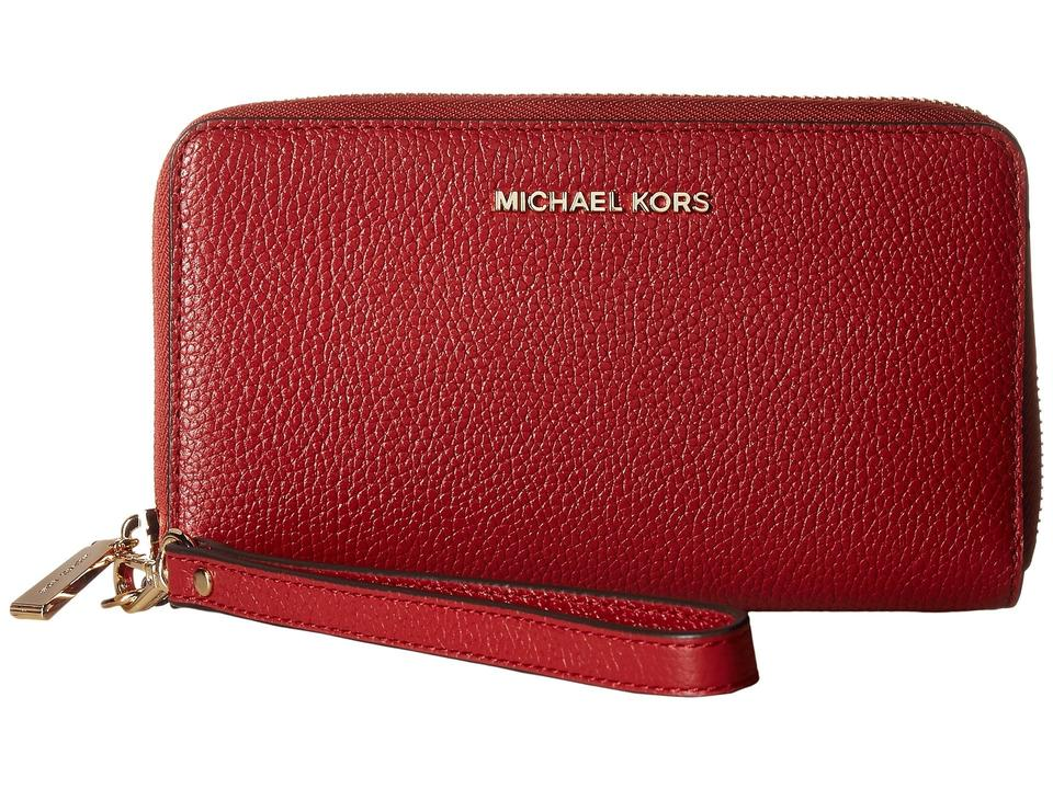 2a8a14e87cc0bc Michael Kors Mercer Large Flat Multi Function Phone Card Wallet Purse  Wingman Wristlet in Burnt Red. 12345