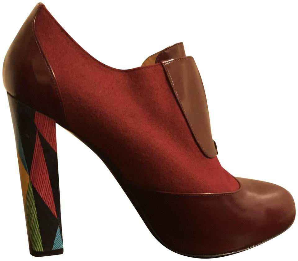 Fendi Burgundy Wool Wuthering Heights Leather and Wool Burgundy Boots/Booties 049969