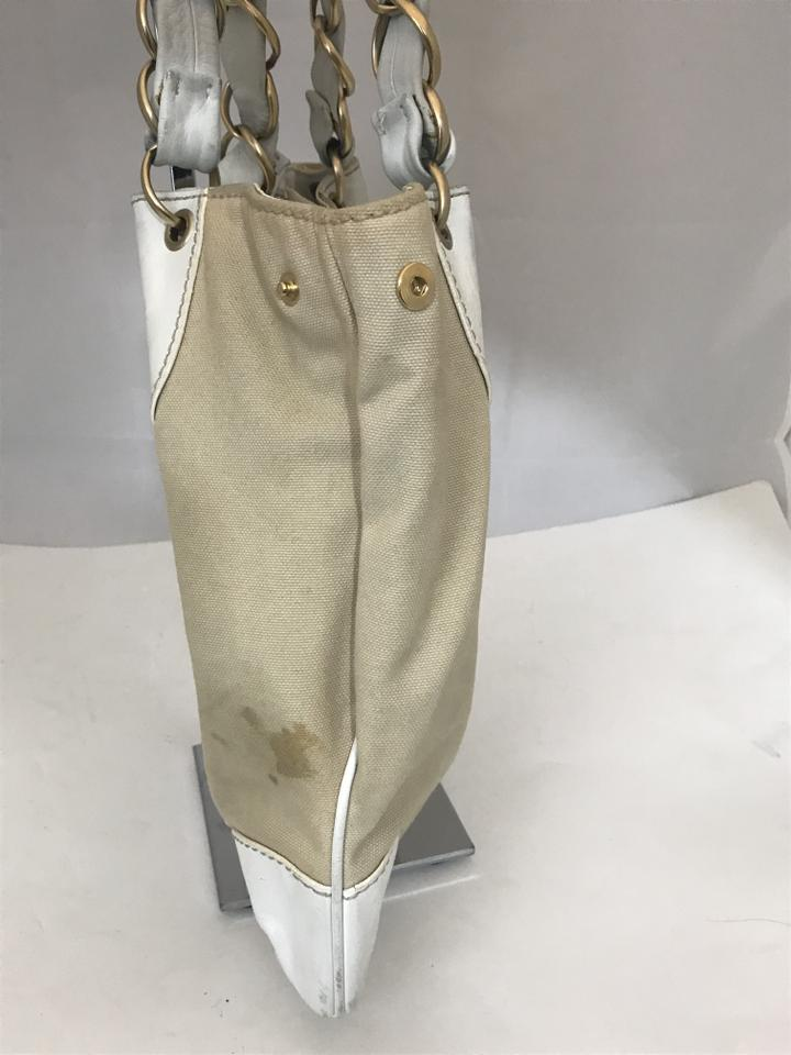 48c0ad6f7 Chanel Shoulder Bag 130218 Vintage Leather Beige/White Canvas Tote - Tradesy