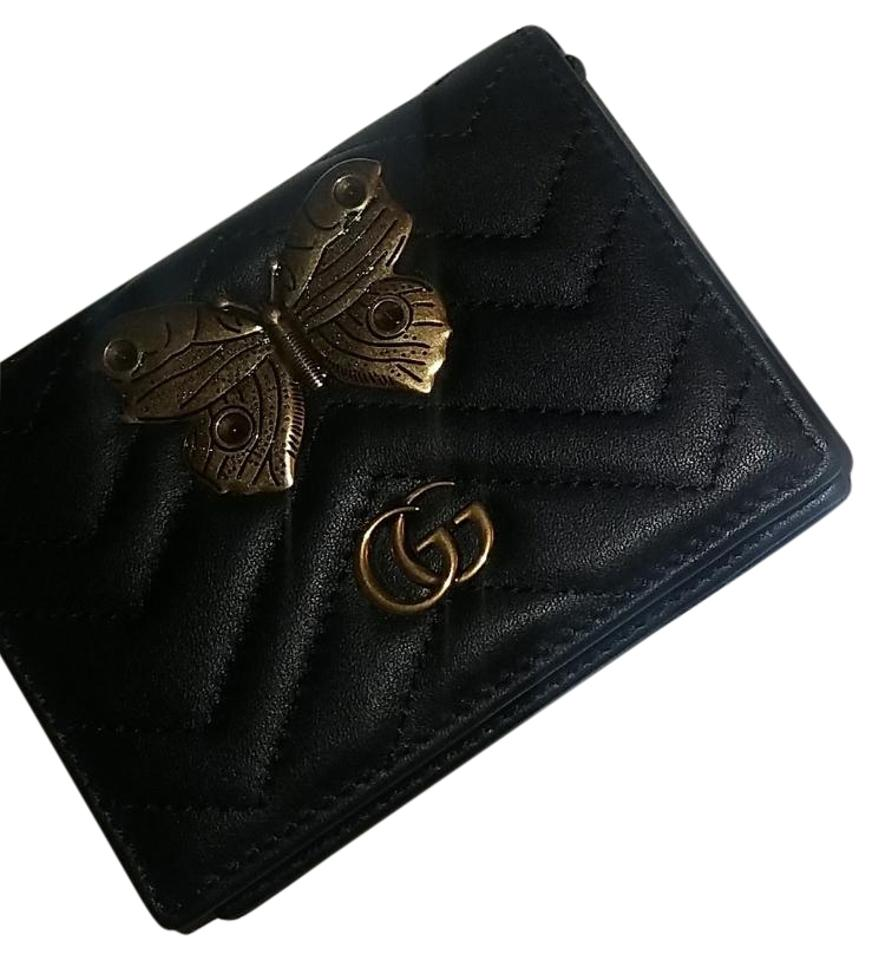 be325534573 Gucci Black Gold Leather Card Case with Butterfly Wallet - Tradesy