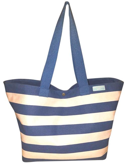 Item - Extra-large Stripped Tote White and Light Blue Canvas Beach Bag
