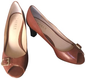 Ralph Lauren Summer Peep-toe Leather Brown Pumps