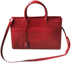 Saint Laurent Cabas Gauche Leather Ysl Satchel in Red