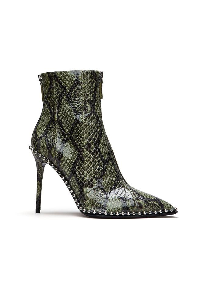 5aea6caed61c Alexander Wang Green and Black Eri Snakeskin Ankle Boots Booties. Size  EU  37.5 ...