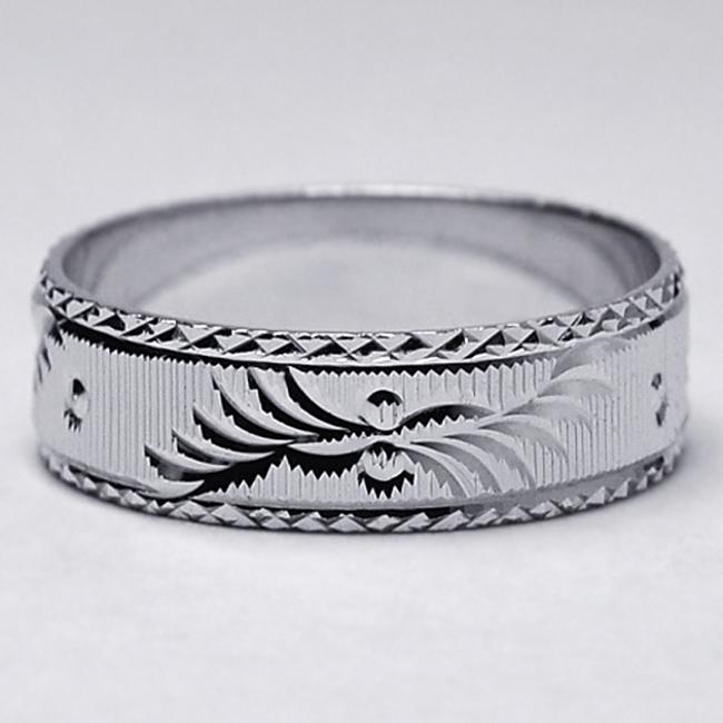 Item - Silver 925 Sterling Her Affordable Ring Diamond Cut Pattern Comfort Fit 6.2mm Women's Wedding Band