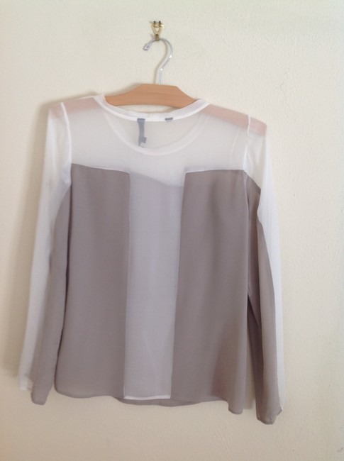 Waverly Grey Top taupe/white sheer