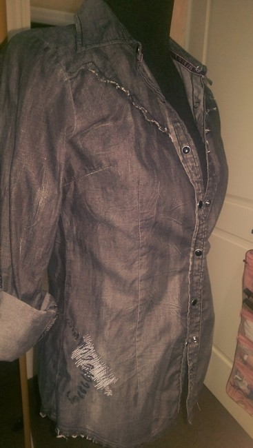 Roar Button Down Shirt Charcoal Gray Image 1