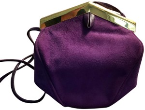 Susan Gail Shoulder Suede Plum Clutch
