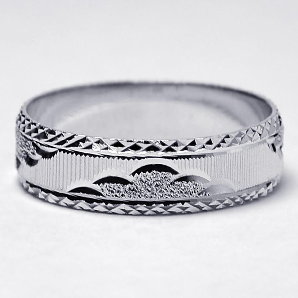 fbd9e5a74 NY Collection Sterling Silver Cheap Comfort Fit His Ring Diamond Cut  Pattern Solid 925 6.3mm ...