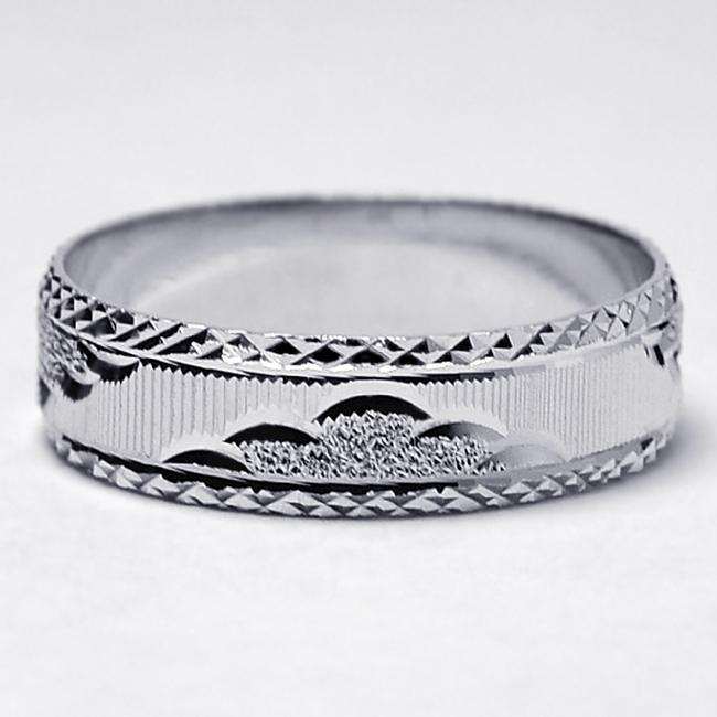 Item - Silver Solid Sterling Cheap Comfort Fit His Ring Diamond Cut Pattern 6.3mm Men's Wedding Band