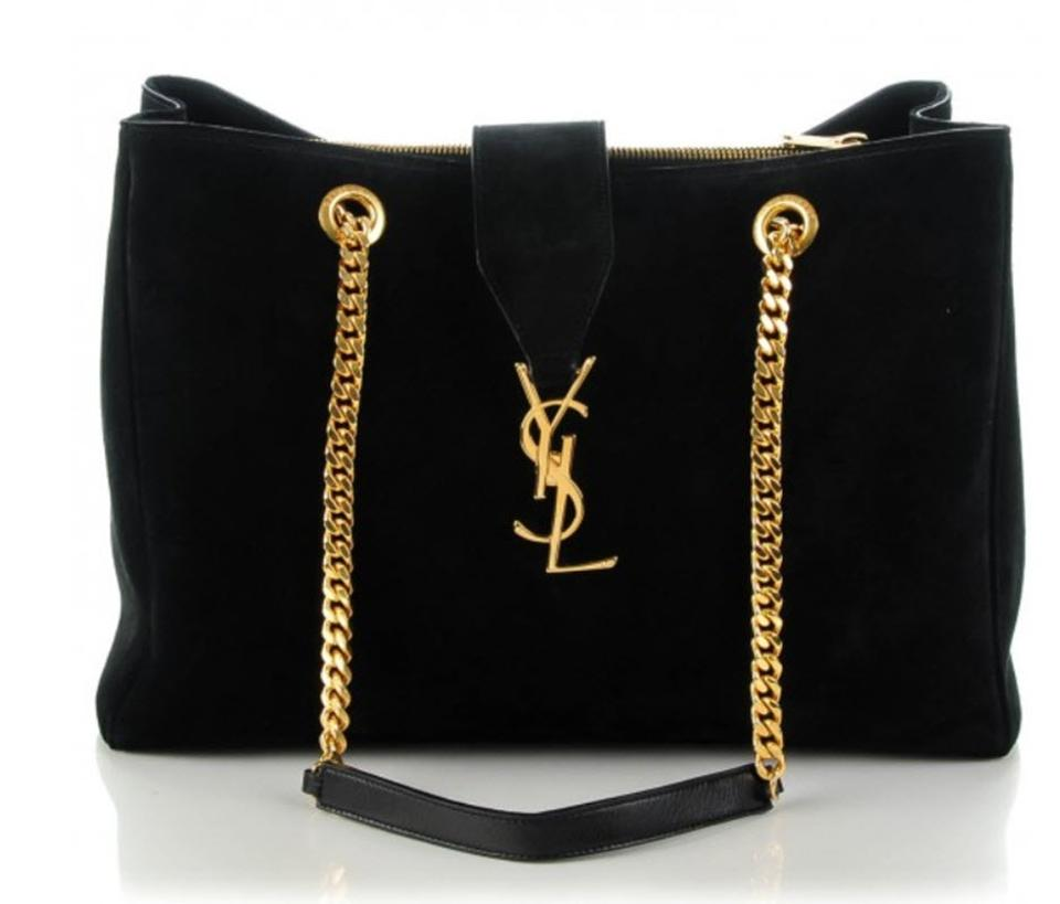 8c31cc70899f Saint Laurent Cassandre Monogram Shopper Black Suede Leather Tote ...