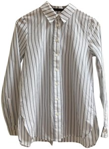 Jenni Kayne Striped Back Placket Placket Pinstripe Cotton Silk Button Down Shirt Blue