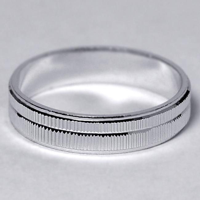 Item - Silver Solid 925 Sterling Comfort Fit His Slim Ring Lined Diamond Cut 4.2mm Men's Wedding Band