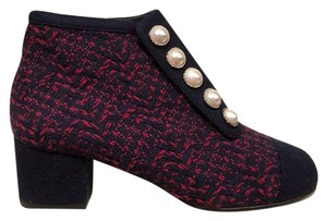 Chanel Tweed Pearl Stiletto Ankle blue Boots