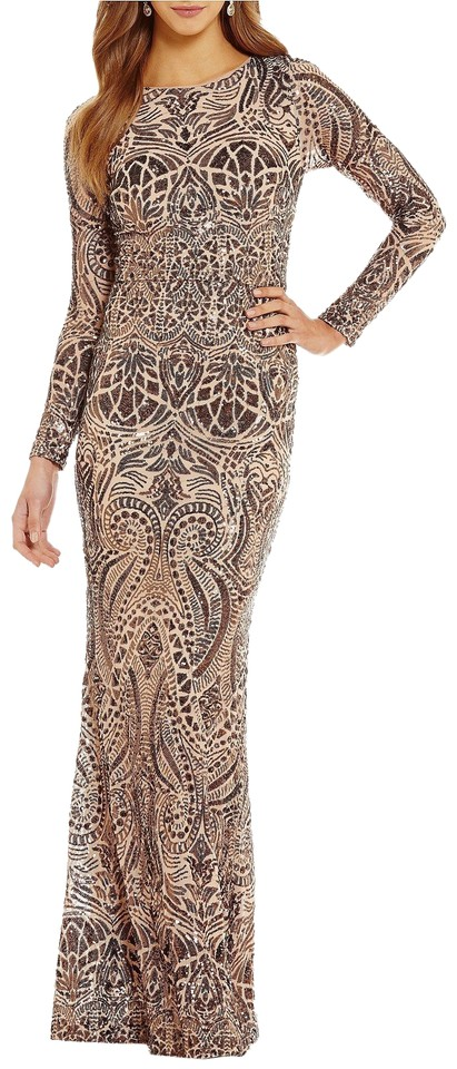 Betsy & Adam Bronze Sequin Gown Long Formal Dress Size 4 (S) - Tradesy