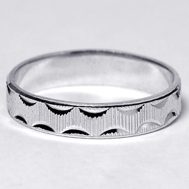 Item - Silver Solid 925 Sterling His Comfort Fit Ring Diamond Cut Pattern 4.3mm Men's Wedding Band