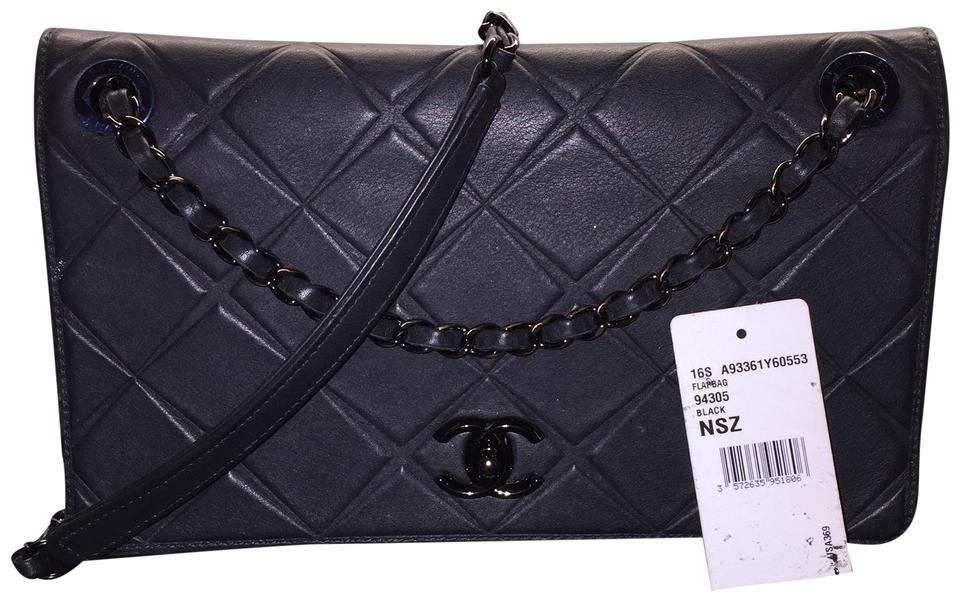 7081bc88458afd Chanel Propeller Flap So-black 16s Medium A93361 Rare Airline Embossed  Diamond Black Leather Shoulder Bag