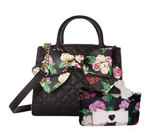 Betsey Johnson Quilted Floral Bow Wallet Satchel in BLACK
